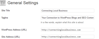 General Settings after WordPress INstall http://connectinglocalbusiness.com